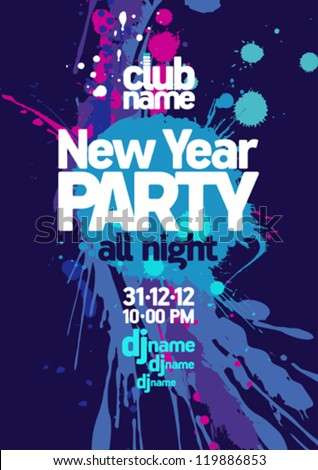 New Year Party design template. - stock vector