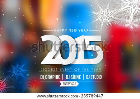 New Year 2015 Party Flyer & Poster Template Design  - stock vector