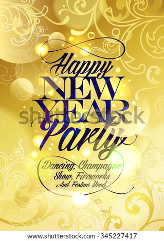 New Year party gold design with floral elements and bokeh. - stock vector