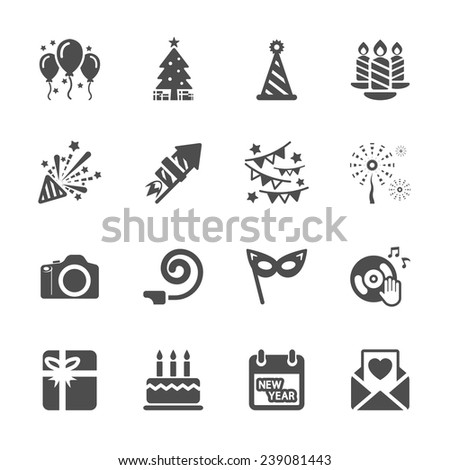 new year party icon set 5, vector eps10. - stock vector