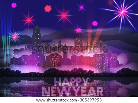 New Year Party Poster Template with City Skyline and Fireworks - Vector Illustration - stock vector