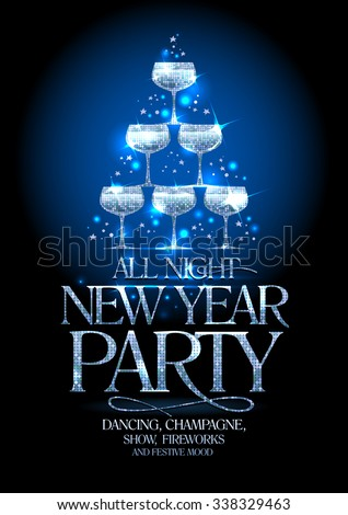 New Year party poster with silver stack of champagne glasses, decorated sparkling stars, vector illustration. - stock vector