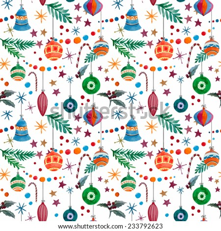 new year, pattern, watercolor - stock vector