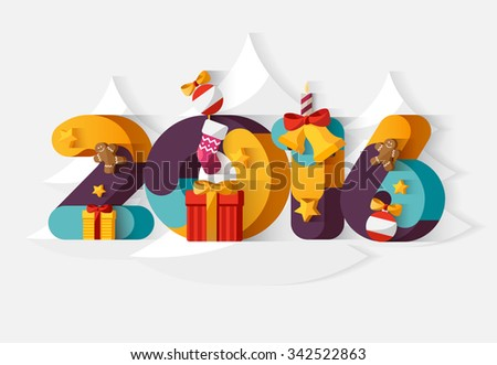 New year poster. Colorful design. - stock vector