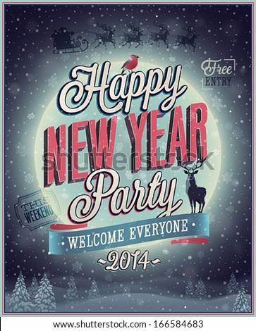 New Year Poster. Vector illustration. - stock vector