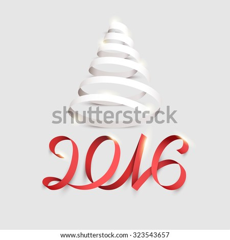 New year poster with red calligraphic inscription. - stock vector