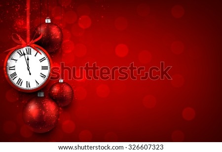 New year red background with christmas balls and vintage clock. Vector illustration with place for text.  - stock vector