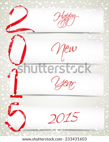 New year red ribbons with white paper cards and snowfall - stock vector