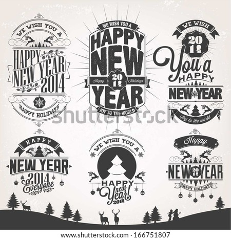 New Year Retro Icons, Elements And Illustration Set - stock vector
