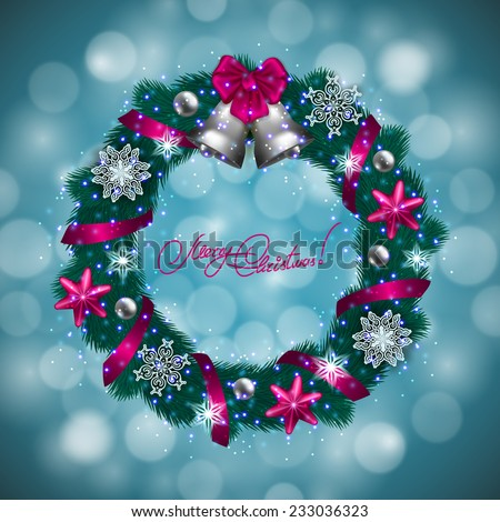 New Year's background - a wreath of fir branches, bow, balls, baubles, gifts, bells, for greeting card, invitation. Christmas festive bokeh background. Vector illustration EPS10. - stock vector