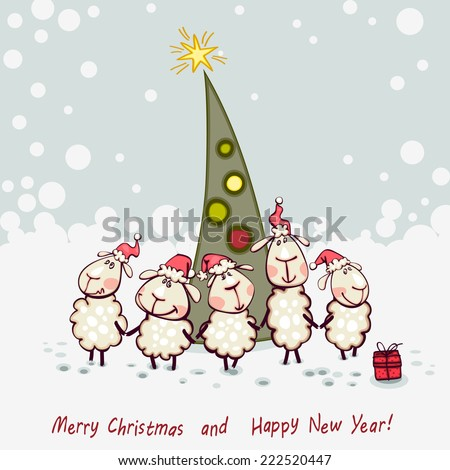 New Year's card. Ram and goat decorating christmas tree - stock vector