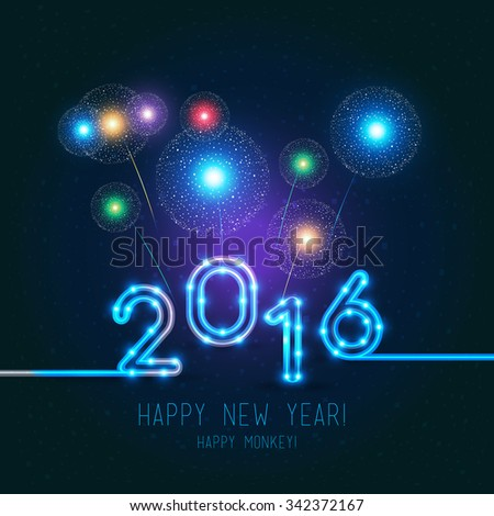 New Year's design. 2016 year of the monkey. Fireworks on dark background, vector neon figures with lights. - stock vector