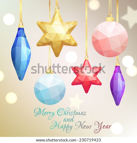 New Year's geometrical background with tree decorations. Vector illustration - stock vector