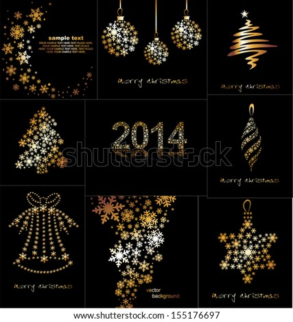 New Year's or Christmas toys made of gold snowflakes on a black background. Vector. - stock vector