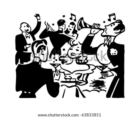 New Year's Party - Retro Clipart Illustration - stock vector