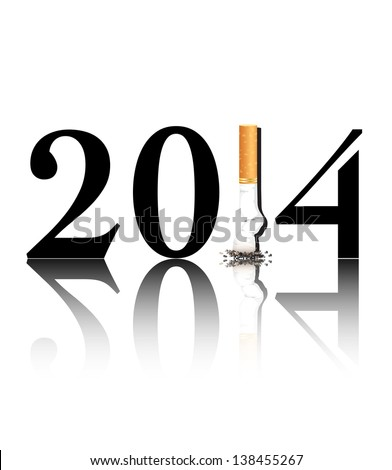 New Year's resolution Quit Smoking concept with the i in 2014 being replaced by a stubbed out cigarette. EPS10 vector format. - stock vector