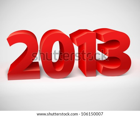 New year 2013 shiny 3d red. Vector illustration - stock vector