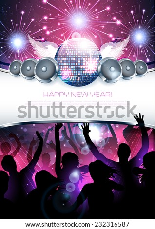 New year shiny party disco background with silhouette - Vector - stock vector