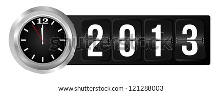 New Year 2013 Sign and Silver Cock in Airport Time Style - stock vector