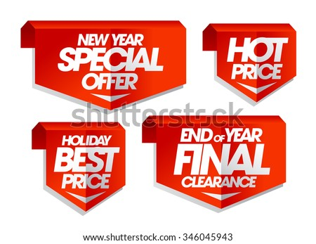 New year special offer, hot price, holiday best price, end of year final clearance, winter sale tags set. - stock vector