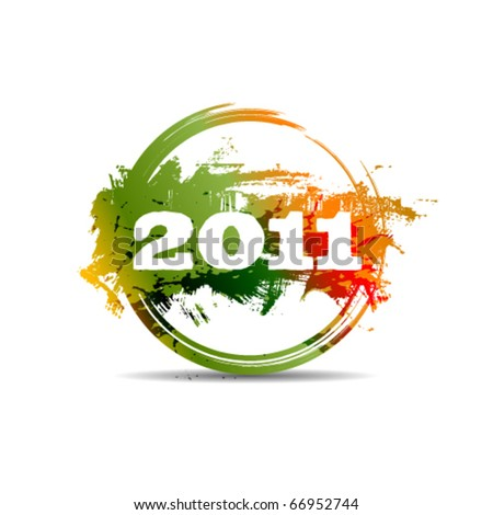 New year 2011 stamp - stock vector