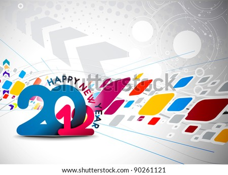 New year 2012 technology poster design. Vector illustration - stock vector