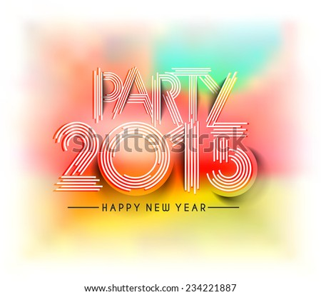 New Year 2015 test design with colorful blur background - stock vector