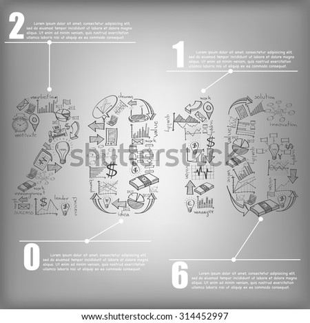 New Year 2016 Text Design with Creative Doodle business, technology and strategy planning icon Idea, Vector Illustration EPS 10. - stock vector