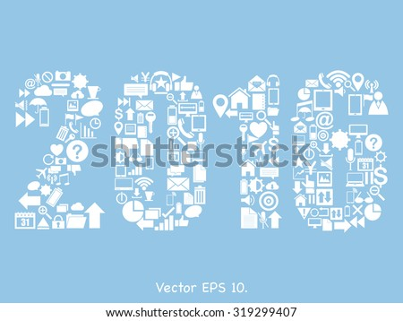 New Year 2016 Text Design with Creative web icons, business icons, technology icons and strategy planning icons Idea, Vector Illustration EPS 10. - stock vector