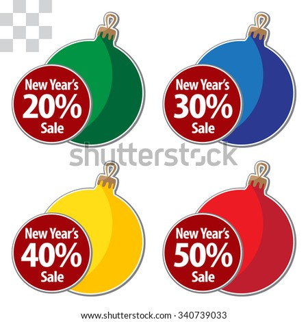 New Year Theme. Holiday's merchandising coupon on transparent Background. Grouped for easy editing. Perfect for invitations or announcements. - stock vector