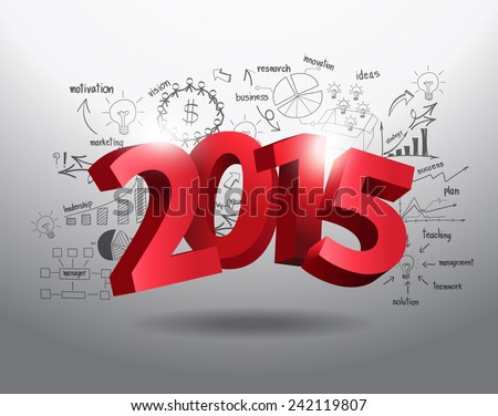 New year 2015 three-dimensional on creative drawing business success strategy plan ideas, Inspiration concept modern design template, diagram, Vector illustration - stock vector