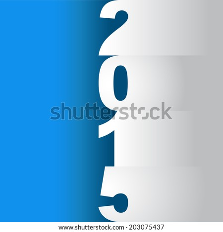 new year 2015 tittle, paper cuts on a blue background - illustration - stock vector