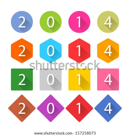 New Year 2014 white title text. Figures 1, 2, 3, 4, 5, 6, 7, 8, 9, 0. Flat icon blue, brown, cobalt, gray, green, indigo, magenta, orange, pink, purple, red, violet, yellow colors. Vector eps - stock vector