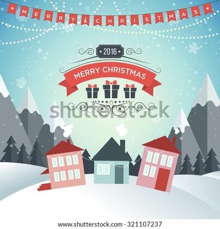 New Year. Winter holidays landscape. Merry Christmas. Excellent vector illustration, EPS 10 - stock vector