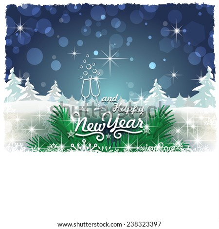 New Year with snowy landscape-Transparency blending effects and gradient mesh-EPS 10 - stock vector