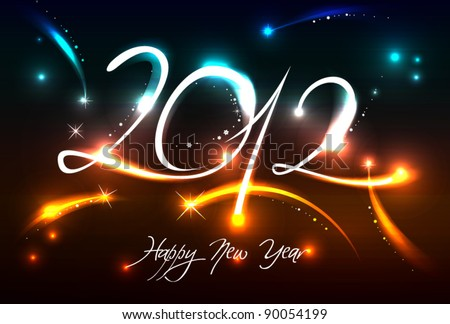 New Years banner for 2012 with back light and place for your text - stock vector