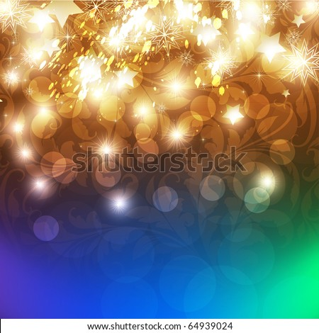 New Years card with back light and place for your text - stock vector