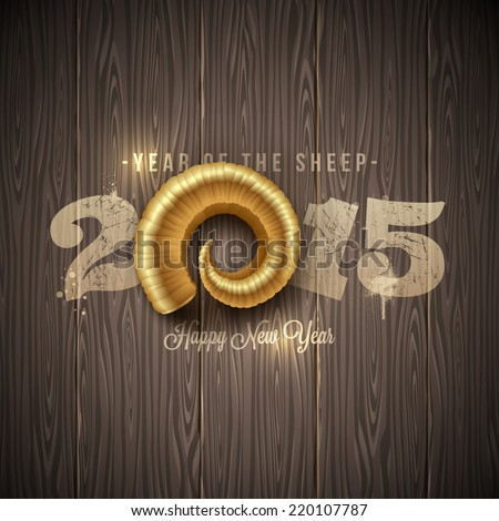New years greeting with golden horn of a sheep on a wooden surface - vector illustration - stock vector