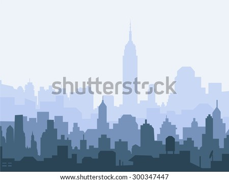 New York at Early Morning - stock vector