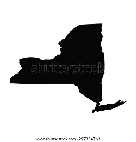 New York black vector flat design map - stock vector