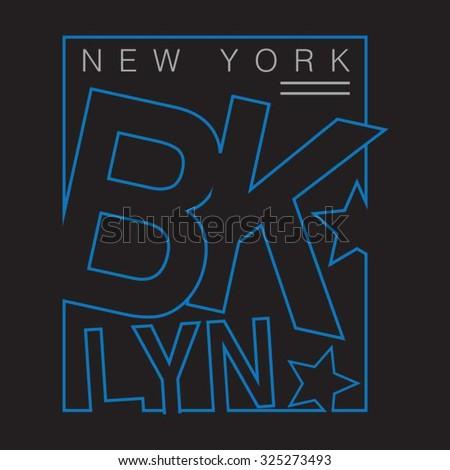 New york Brooklyn typography, t-shirt graphics, vectors - stock vector