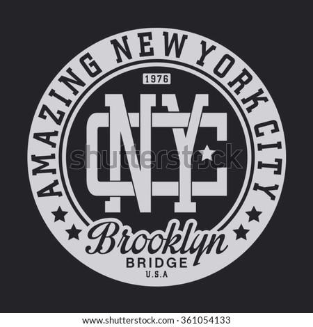 New York city amazing typography, t-shirt graphics, vectors - stock vector