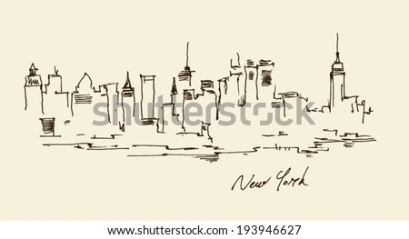 New York city architecture, vintage engraved illustration, hand drawn - stock vector
