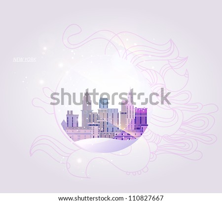 New York city background in a glass ball - stock vector