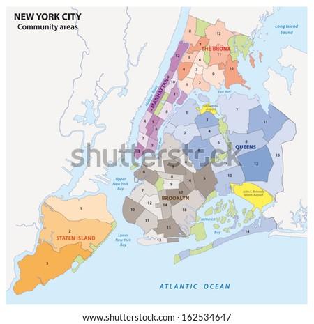 new york city, boroughs, community areas, neighborhoods, map - stock vector