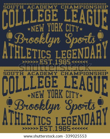 new york city - brooklyn college league typography, t-shirt graphics, vectors - stock vector