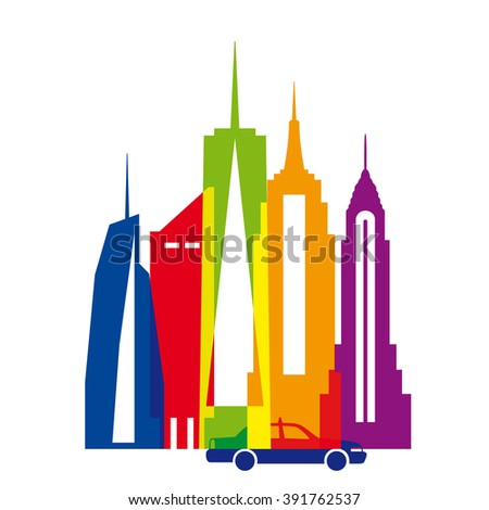 New York city, color vector illustration. Skyscrapers, Statue of Liberty, taxi. - stock vector