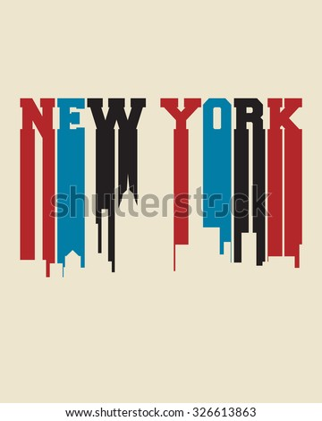 New York city concept, logo, label. Word and Icon Cloud. Hipster style. T-shirt design. Typography. Creative poster design. - stock vector