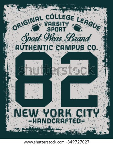 New York City Handcrafted vector print and varsity. For t-shirt or other uses in vector. - stock vector