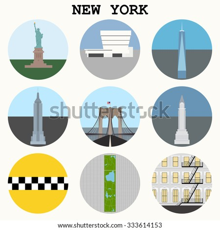 New York City icons - vector set eps10 - stock vector